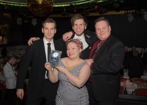 Annakaisa Kultima, Vesa Raudasoja, Kosti Rytkönen ja Tatu Laine from Finnish Game Jam ry were present at the Finnish Game Awards gala.