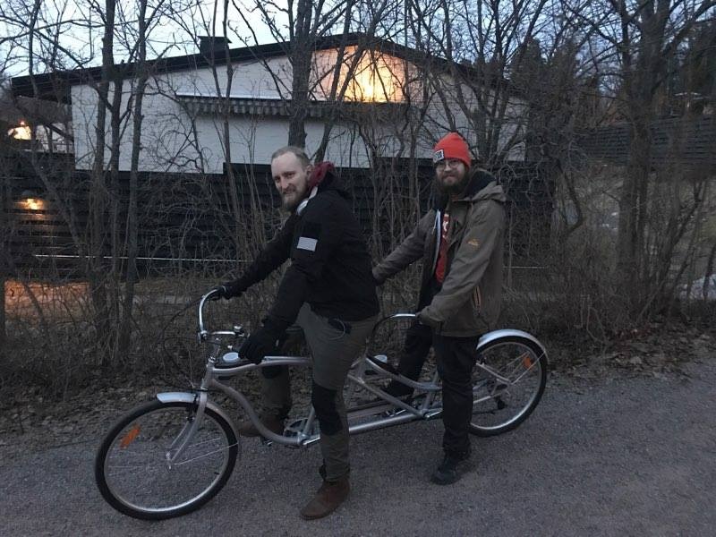 Jonne and Samuli testing one of the tandem bike candidates in 30.3.2017.